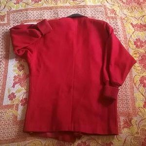 Vintage Jackets & Coats - Retro red wool coat w/ leather leopard print trim